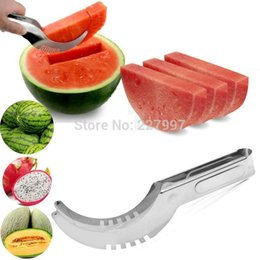 Cutter Fruit Watermelon Australia - 100pcs 2016 Watermelon Cutter Slicer Knife Corer Kitchen Cutting Server Scoop Stainless Steel Fruit Vegetable Tools With Box 20180920#