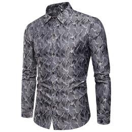 Batik dress design online shopping - True Reveler Men Shirts Bright Color Nightclub Camouflage blouse Design Silk Cloth Fashion Lapel Men Long Sleeve hip hop Shirt
