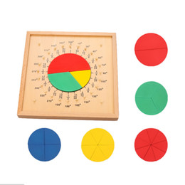 montessori math materials Australia - Measurement of Angles Toys Wood Fraction Toy Round Score Board Teaching Aids Kids Montessori Material Math Toys