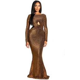 $enCountryForm.capitalKeyWord UK - Elegant Sparkly Glitter Sexy Maxi Dresses Women Long Sleeve Criss Cross Hollow Out Backless Open Back Evening Party Dresses 2019