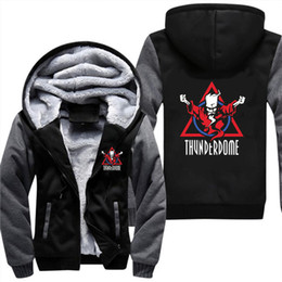 Red coat cosplay online shopping - Thunderdome wizard Logo Hardcore Techno and Gabber Men Thicken Hoodie Anime Zipper Coat Jacket Cosplay Costume Plus Size XL