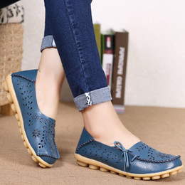 pink nurse shoes UK - Women Flats Soft Genuine Leather Shoes Woman Loafers Slip On Flat Shoes Female Plus Size Nurse Shoes Causal Ladies Zapatos