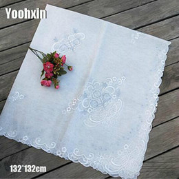 $enCountryForm.capitalKeyWord NZ - Modern White Lace Transparent Square Embroidered Table Cover Cloth Wedding Tablecloth Kitchen Mantel Dining Party Decor