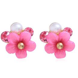 $enCountryForm.capitalKeyWord UK - New Flower Earring Stud For Girls Fashional Flower Ear Stud Jewelry Korea Style Personality Crystal Ear Ring Creative Charm Ear Stud