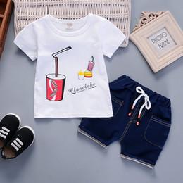 8403afccab14 good quality Boy Clothing Sets Summer Boys Clothes Children Clothing  T-shirt+Denim Shorts Kids Clothes Toddler Boy Outfits Sport Set