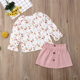 flower girls skirt blouse Canada - casual 2PCS Toddler Baby clothing sets Girl Autumn Clothes ruffles Floral printed Tops Blouses and flower Skirts Outfits