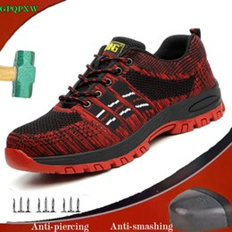 $enCountryForm.capitalKeyWord Australia - Outdoor Sports Men's Boots Summer Light Flying Woven Mesh Work Shoes Breathable Deodorant Anti-smashing Puncture Safety Shoes