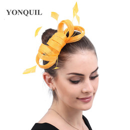 $enCountryForm.capitalKeyWord NZ - Cocktail Tea Yellow Fascinators Hat Women Flower Mesh Feathers Fedoras Hat Headband or a Clip Party Headwewar for Girls Female free ship