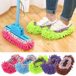 1 pc Dust Cleaner Broutant Pantoufles Salle De Bains Nettoyage De Plancher Mop Cleaner Slipper Chaussures Paresseux Couverture Microfibre Duster Chiffon en Solde
