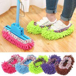 Ingrosso 1pc Pulitore per la polvere Pantofole per il pascolo Pavimento per la pulizia del bagno Mop Cleaner Slipper Scarpe pigre Copertura Microfiber Duster Cloth