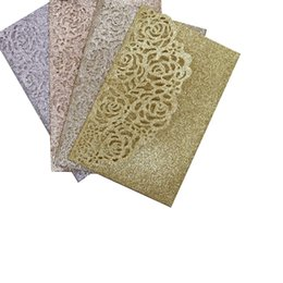 $enCountryForm.capitalKeyWord UK - Rose Gold Laser Cut Pocket Wedding Invitation Card, DIY Glitter Invitations for Quinceanera Birthday Sweet 16th Invite shipped by DHL