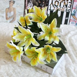 Fake Lilies Flowers Australia - 10 Heads Decorative Bouquet Valentine's Day Romantic Artificial Flower Easter Fake Lily Hotel Party Wedding Office Crafts Gift
