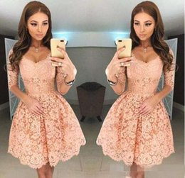 sweet little models Canada - 2019 New Sweet Sexy V Neck Full Lace Short Homecoming Dresses Half Sleeves Zipper Back Mini Short Cocktail Party Dresses