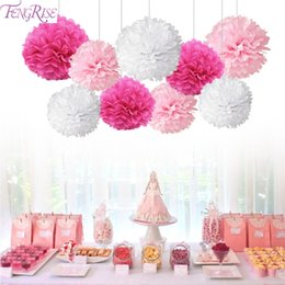 home birthday supplies Australia - 9pcs Tissue Paper Pompoms Happy Birthday Decoration Paper Pom Poms Balls Flowers Home Decor For Wedding Party Supplies