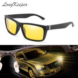 night driving sunglasses wholesale UK - LongKeeper Fashion night vision goggles men's sunglasses square polarized yellow glasses for driving gafas de sol hombre UV400