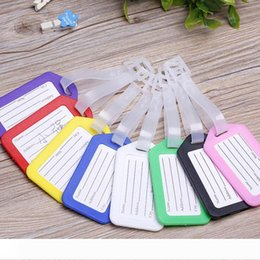 plastic travel bag tags UK - A PVC Plastic Luggage Tag Holder Labels Strap Name Address ID Suitcase Bag Baggage Travel Luggage label boarding pass