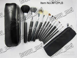 Number Hair Australia - Free Shipping ePacket New Makeup Blusher 12 Pieces Brush Sets+Leather Pouch!!With Numbered!999