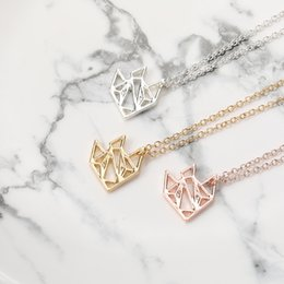 necklaces pendants Australia - 30pcs Gold Silver Rose Gold Origami Golden Fish Pendant Necklace Tropical Fish Characin Jewelry for Gift