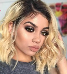 Short Cut Brazilian Lace Wigs Australia - Short Wavy Brazilian remy Human Hair Lace Front Wig Ombre blond 1B #613 Bob Cut Lace Wig Pre Plucked Baby Hair