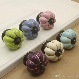 blue ceramic door pulls Canada - New Ivory Sky blue Purple Green Pink Pastoralism pumpkin ceramic door knob kids cabinet handle kitchen and drawer single colorful pulls#006
