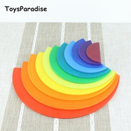 Magnetic Blocks For Kids Australia - 11pcs Semicircle Wooden Toys For Kids Matching With 12pcs Large Rainbow Blocks Building Storage Cabinets Gift Q190530