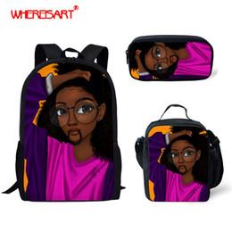 $enCountryForm.capitalKeyWord Australia - WHEREISART Kids School Bags Set, Children Backpacks for Girls Cool African Black Art Backpack Primary Schoolbag Mochila Bookbag