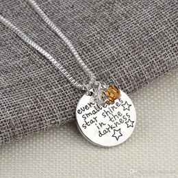 Necklaces Pendants Australia - Letter Even The Smallest Star Shines in the Darknes Pendant Inspirational Necklace for Women fashion jewelry Christmas gift DROP SHIP 161551