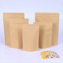 1000pcs Zipper Brown Kraft sacchetto alluminante, Stand up carta kraft foglio di alluminio sacchetto risigillabile Zip Lock Grip seal Food Grade all'ingrosso DHL