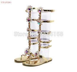 $enCountryForm.capitalKeyWord NZ - Vinapobo 2019 New Summer Flats Gladiator Sandals Gold Blue Crystal Knee High Buckle Strap Woman Transparent Boots Bohemia Shoes