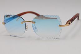 $enCountryForm.capitalKeyWord Australia - 2019 Free Shipping Rimless Sunglasses Carved lens 8200762Carved Wood Trimming Lens Sunglasses New Rimless Glasses Hot Unisex SunGlasses Red