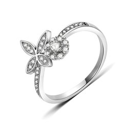 Valentine Rings Australia - Transmit love 925 Silver colour ring for woman Creative flower inlaid zircon ring women's fine jewelry Valentine birthday gifts