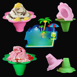 Disposable Ice Cream Bowls Australia - 8oz 450ml Disposable Plastic Ice Cream Cup Flower Shape Parfait Sundae Cup Bowls