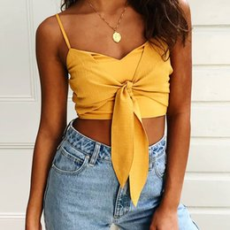 $enCountryForm.capitalKeyWord Australia - 2019 NEW Sexy Pure Color Spaghetti Strap Crop Top Women Back Bow Cami Top Vest Summer Female Beach Casual Slim Fit Tank Tops Tee