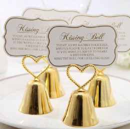 """Gold Wedding Card Holders Australia - Beautiful Gold and Silver Kissing Bell"""" Bell Place Card Holder Photo Holder Wedding Table Decoration Favors LX6195"""