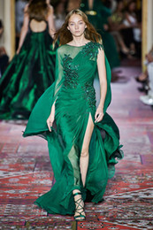 $enCountryForm.capitalKeyWord UK - Zuhair Murad Fall 2019 Couture Fashion Evening Dresses Long Sleeve Crew Neck Chiffon Sweep Train Dark Green Formal Occasion Prom Party Dress