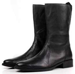 Comfortable Knee High Boots Australia - Comfortable Zipper Knee High Black Winter Mens Casual Boots Genuine Leather Boots Male Motorcycle Boots