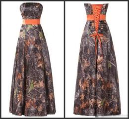$enCountryForm.capitalKeyWord Canada - Camo Dresses For Bridesmaid Elegant Strapless Neck Lace Up Back Sleeveless High Quality Formal Wear Floor Length A Line Formal Dresses