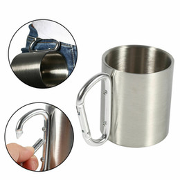 Cup handle stoCks online shopping - 220ml ml ml ml Stainless Steel Cup Camping Traveling Outdoor Cup with Carabiner Hook Handle Outdoor Car Mugs CCA11713