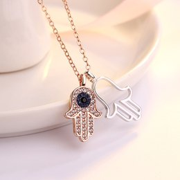 $enCountryForm.capitalKeyWord Australia - Hamsa hand palm high-grade full crystal pendant necklace Europe and Europe hot plated 18k rose gold Women's jewelry gift
