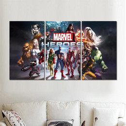 marvel canvas prints NZ - 3 sets prints marvel heroes game canvas printed painting wall pictures For living room