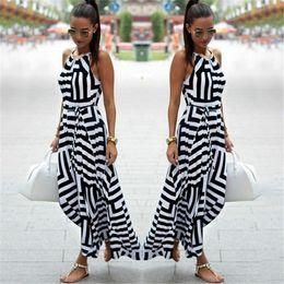 Style dreSSeS for working women online shopping - Women Sexy Summer Dress Boho Striped Sleeveless Maxi Long Dress Beach Style Strap Sundress Vestidos For Female