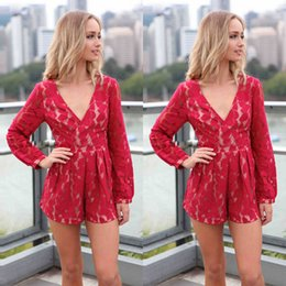 Sexy Womens Red Lace profunda Pescoço V manga comprida Jumpsuit Cocktail Floral Imprimir Playysuit