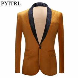 winter shiny jacket UK - PYJTRL Autumn Winter Wedding Groom Shawl Lapel Gold Blazer For Men Shiny Velvet Suit Jacket Stage Singers Prom Slim Fit Blazers