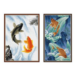 cartoon chinese dragons UK - Everlasting love A fish leaping over the dragon gate Chinese 5d diamond painting full square christmas decorations for home gift