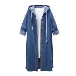 $enCountryForm.capitalKeyWord Australia - SpringDenim Jacket Women Harajuku Button Clothes Bomber Jacket Winter Coat Womens Streetwear Hooded Long Jackets