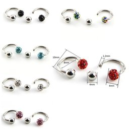 Black Nose Piercing Australia - Silver Classic Cute Red Blue Crystal Open Hoop Ball Stainless C Clip Steel Lip Nose Ring Earrings Body Piercing Women Body Jewelry