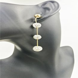 $enCountryForm.capitalKeyWord Australia - Plating gold long drop Crystal ball polymer clay earrings, White Rhinestone Pave Clay Earrings For Women Fashion Jewelry