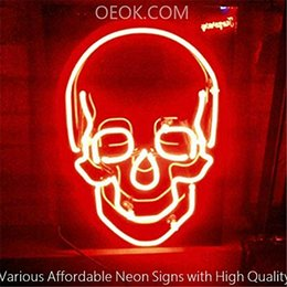 $enCountryForm.capitalKeyWord Australia - 17X14 Inches Skull Real Glass Neon Sign Beer Bar Pub Light Handmade Artwork BEST GIFT Fast Shipping
