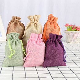 $enCountryForm.capitalKeyWord NZ - Pure Color Drawstring Storage Bag Durable Linen Jewelry Cosmetic Candy Christmas Party Favors Pouch Bags Cloth Coin Bag