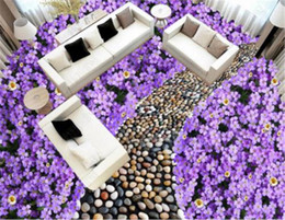 cobblestone flooring NZ - Custom Wallpaper Cute Flower Cobblestone Road 3D Beautiful Floor Mural